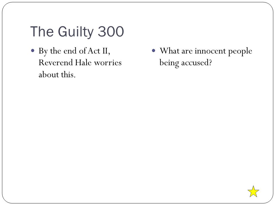 The Guilty 300 By the end of Act II, Reverend Hale worries about this.