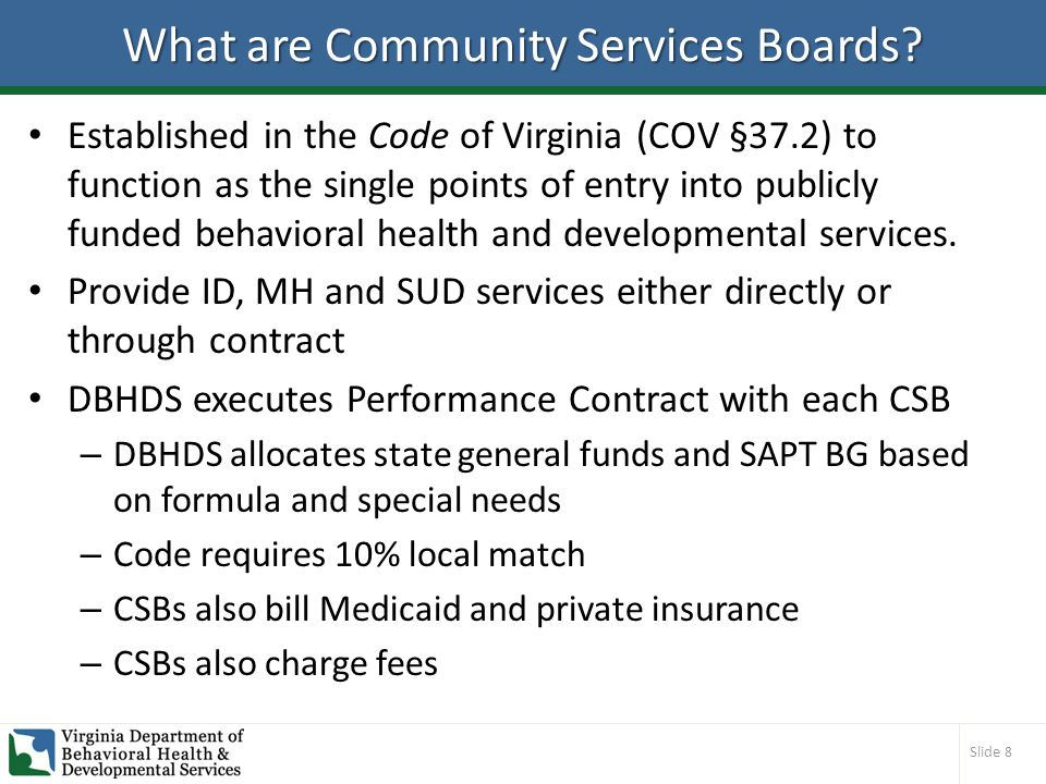 Slide 8 What are Community Services Boards.