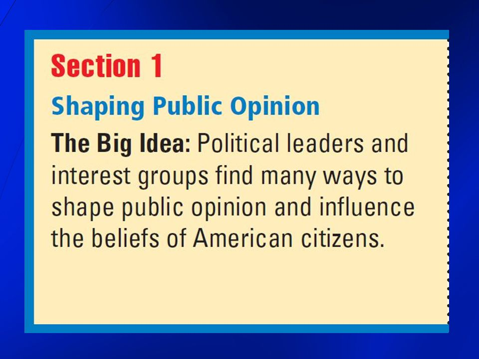 Freedom of Expression the influence of opinions affect what others believe affect how others act affect the government opinion a personal view, belief, or attitude formed about a particular matter opinions of the people greatly influence government affairs public opinion the total of all the opinions held concerning a particular issue there are very few issues on which all Americans agree