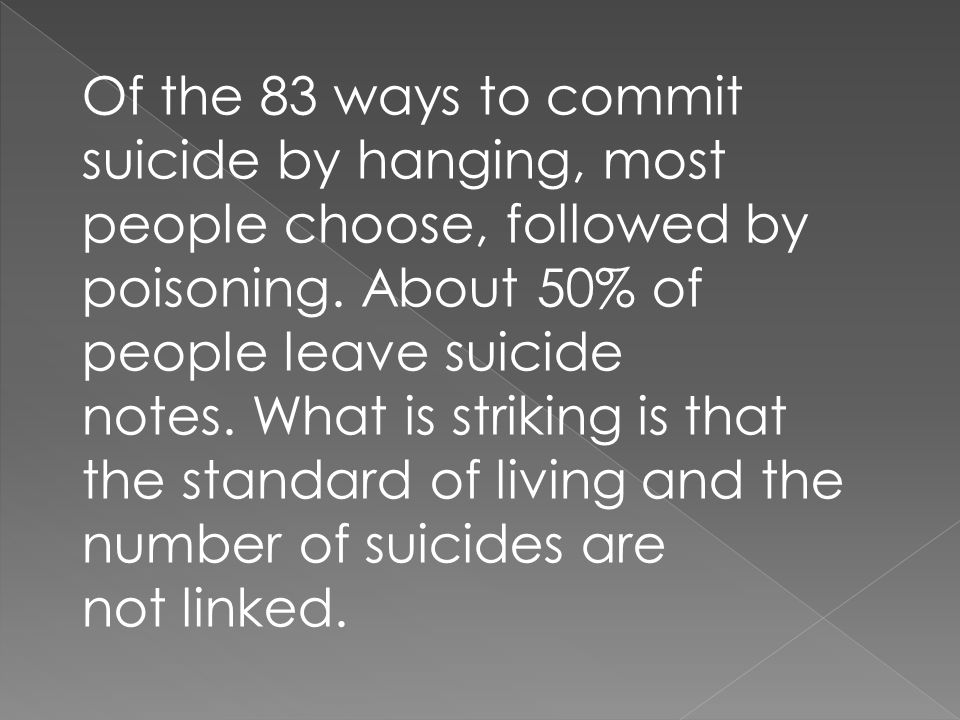 Of the 83 ways to commit suicide by hanging, most people choose, followed by poisoning.