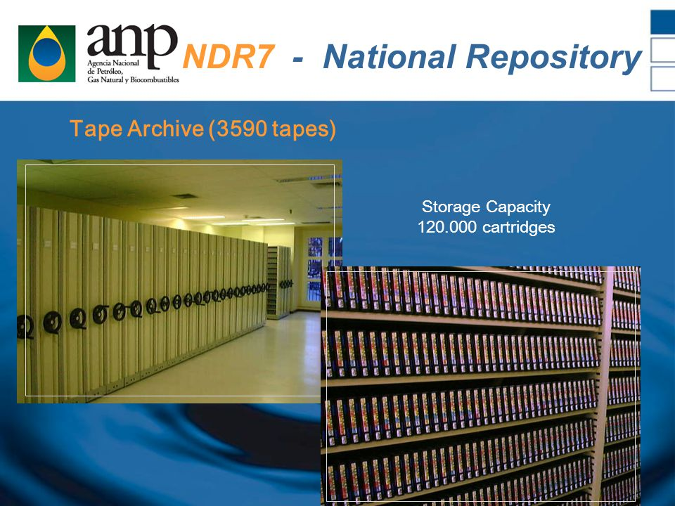 Tape Archive (3590 tapes) NDR7 - National Repository Storage Capacity 120.000 cartridges