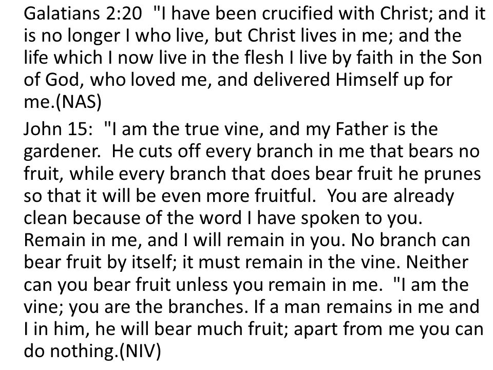 Galatians 2:20 I have been crucified with Christ; and it is no longer I who live, but Christ lives in me; and the life which I now live in the flesh I live by faith in the Son of God, who loved me, and delivered Himself up for me.(NAS) John 15: I am the true vine, and my Father is the gardener.