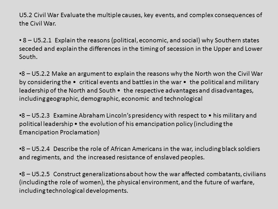U5.2 Civil War Evaluate the multiple causes, key events, and complex consequences of the Civil War.