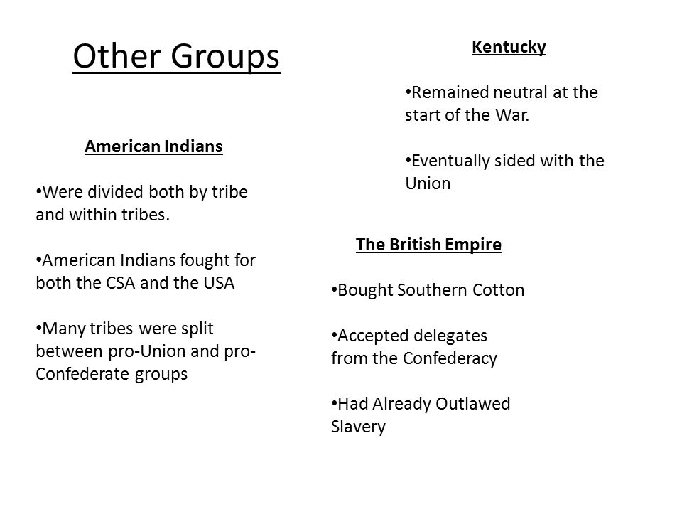 Other Groups The British Empire Bought Southern Cotton Accepted delegates from the Confederacy Had Already Outlawed Slavery American Indians Were divided both by tribe and within tribes.