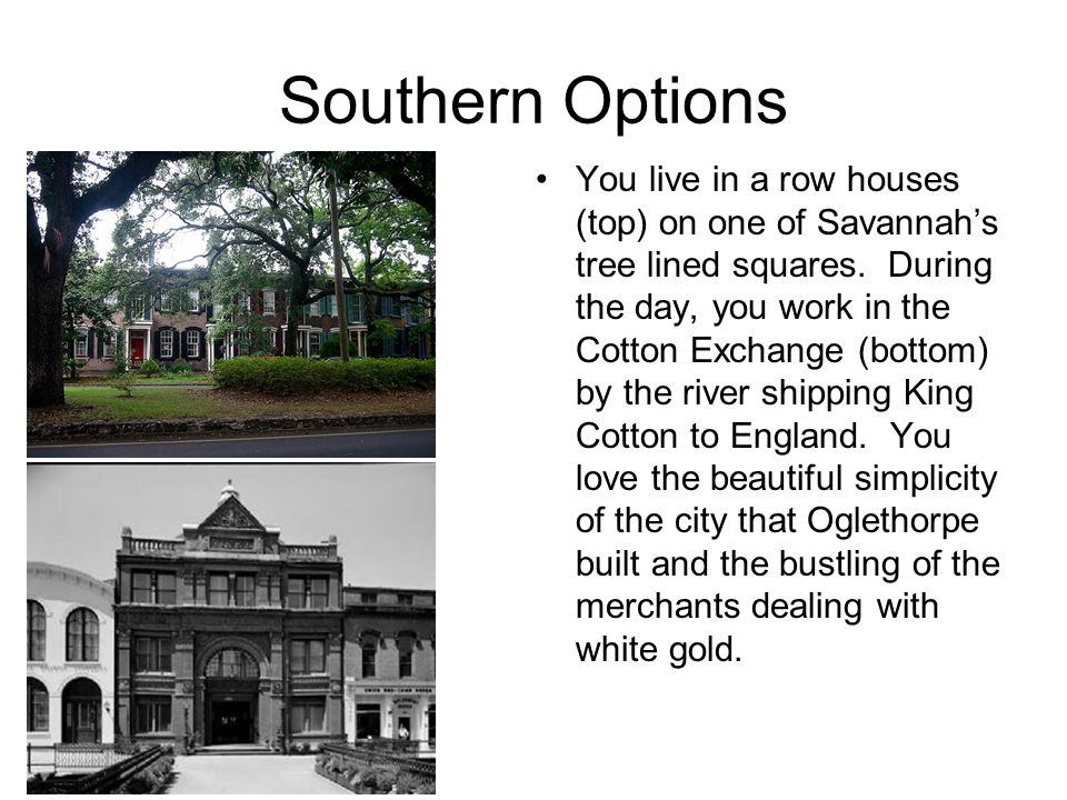 Southern Options You live in a row houses (top) on one of Savannah's tree lined squares.