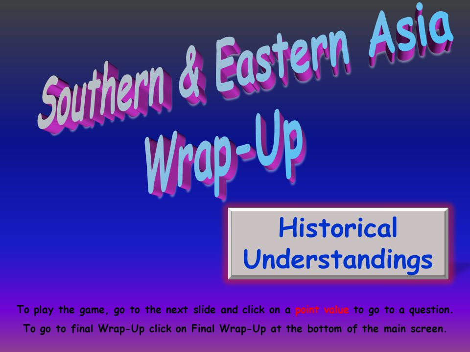 Historical Understandings To play the game, go to the next slide and click on a point value to go to a question.