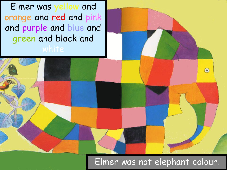 Elmer was different. Elmer was patchwork. Elmer was yellow and orange and red and pink and purple and blue and green and black and white Elmer was not