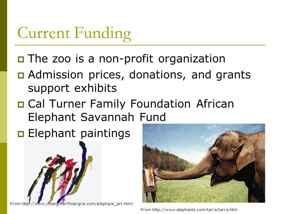 Current Funding  The zoo is a non-profit organization  Admission prices, donations, and grants support exhibits  Cal Turner Family Foundation Afric