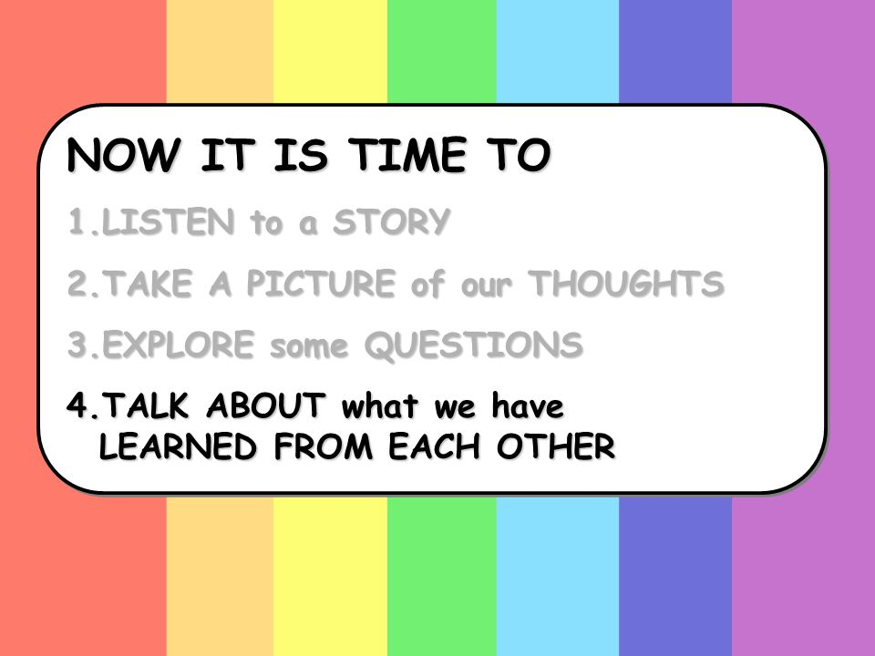 NOW IT IS TIME TO 1.LISTEN to a STORY 2.TAKE A PICTURE of our THOUGHTS 3.EXPLORE some QUESTIONS 4.TALK ABOUT what we have LEARNED FROM EACH OTHER NOW