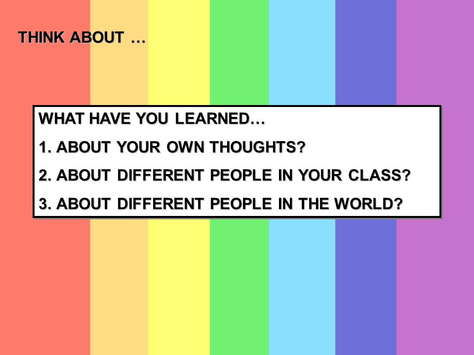 WHAT HAVE YOU LEARNED… 1.ABOUT YOUR OWN THOUGHTS. 2.ABOUT DIFFERENT PEOPLE IN YOUR CLASS.