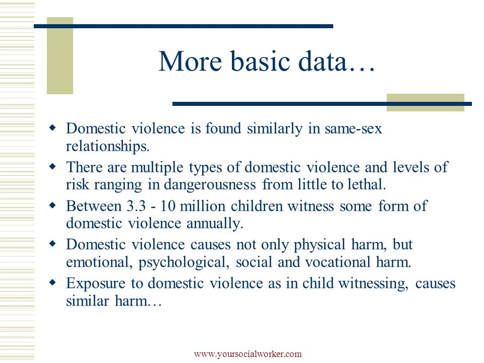 www.yoursocialworker.com More basic data…  Domestic violence is found similarly in same-sex relationships.