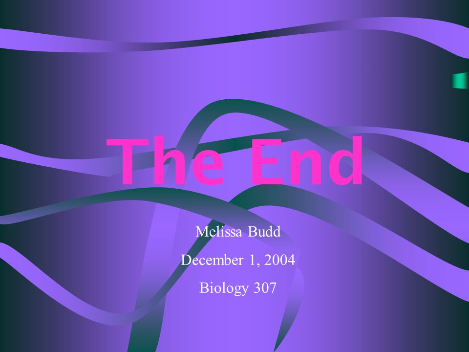 The End Melissa Budd December 1, 2004 Biology 307