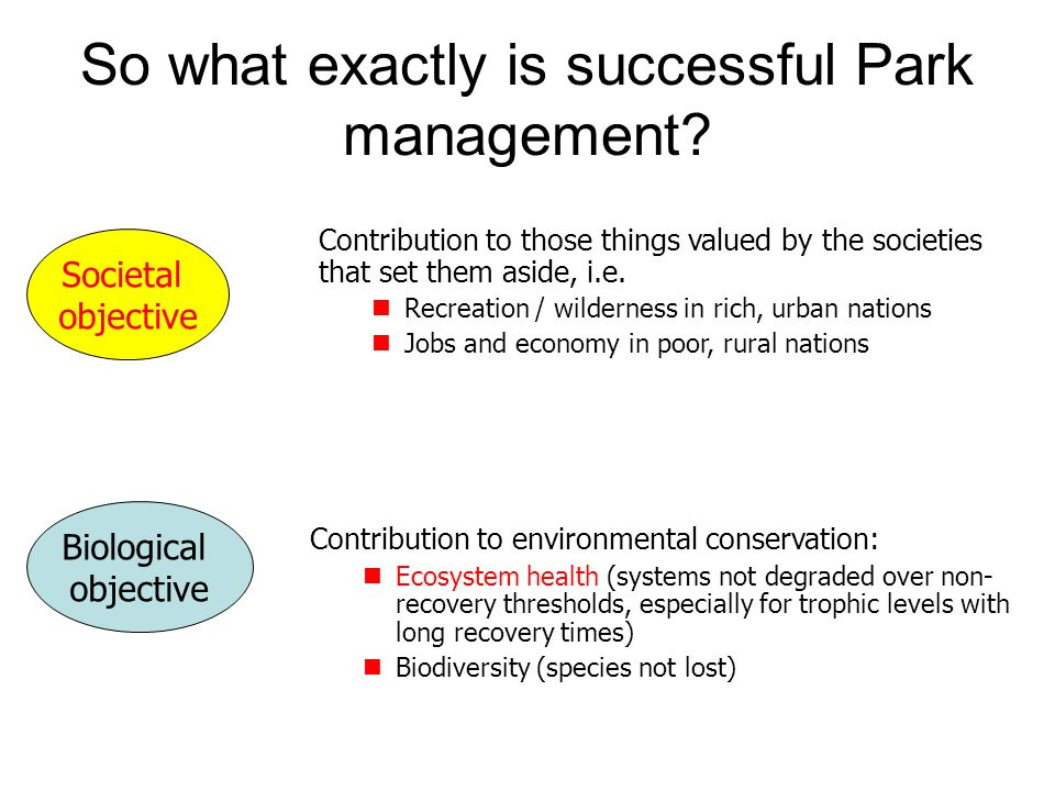Conclusions  Our responsibility to ecosystems and species should trump our responsibility to individual animals  Reducing elephants in many parks in southern Africa is the responsible (if difficult) choice  However, we can have more elephants if we convert them into the land use of choice.