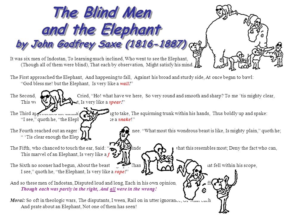The Blind Men and the Elephant by John Godfrey Saxe (1816-1887) It was six men of Indostan, To learning much inclined, Who went to see the Elephant, (
