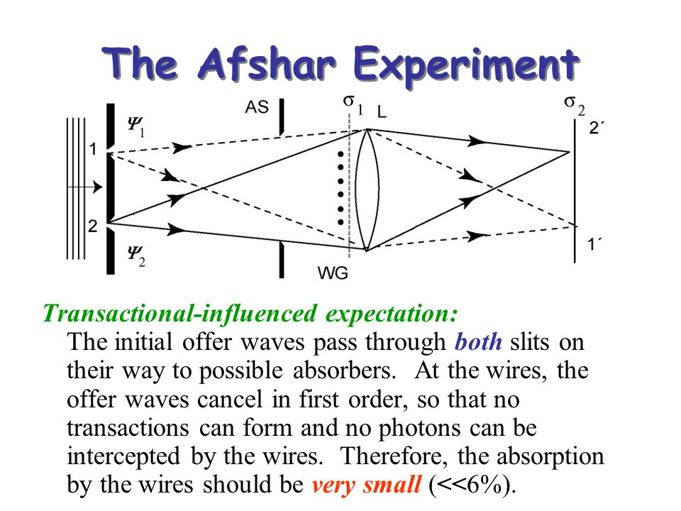 The Afshar Experiment Transactional-influenced expectation: The initial offer waves pass through both slits on their way to possible absorbers. At the