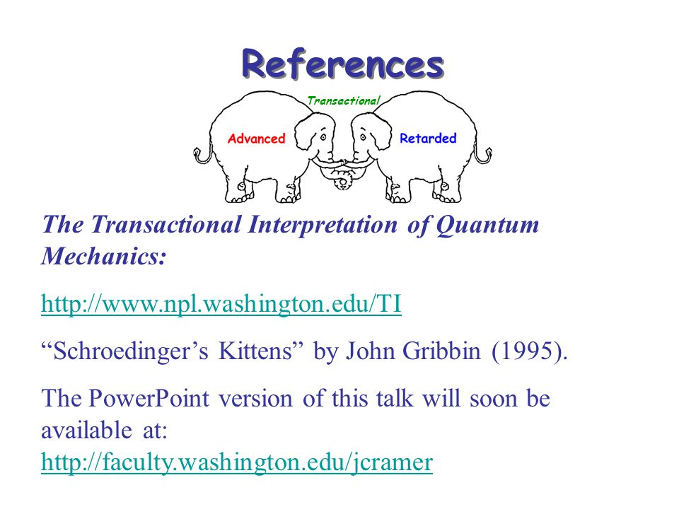 "References Transactional The Transactional Interpretation of Quantum Mechanics: http://www.npl.washington.edu/TI ""Schroedinger's Kittens"" by John Grib"