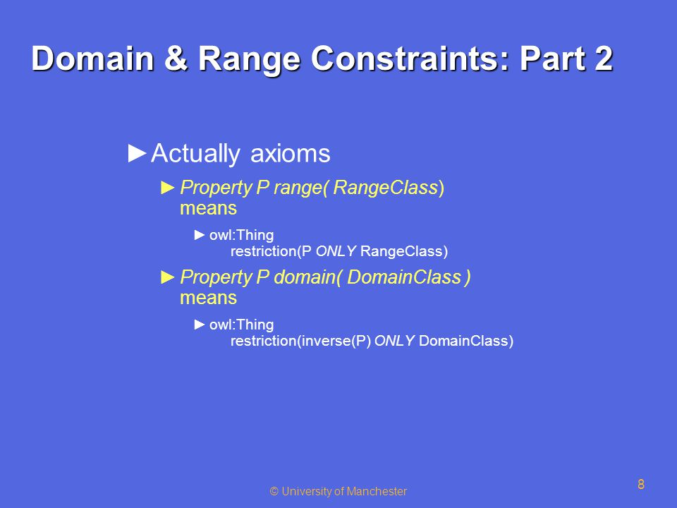 © University of Manchester 8 Domain & Range Constraints: Part 2 ►Actually axioms ►Property P range( RangeClass) means ►owl:Thing restriction(P ONLY RangeClass) ►Property P domain( DomainClass ) means ►owl:Thing restriction(inverse(P) ONLY DomainClass)