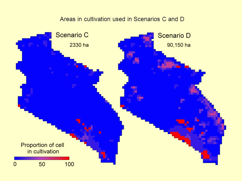 Areas in cultivation used in Scenarios C and D