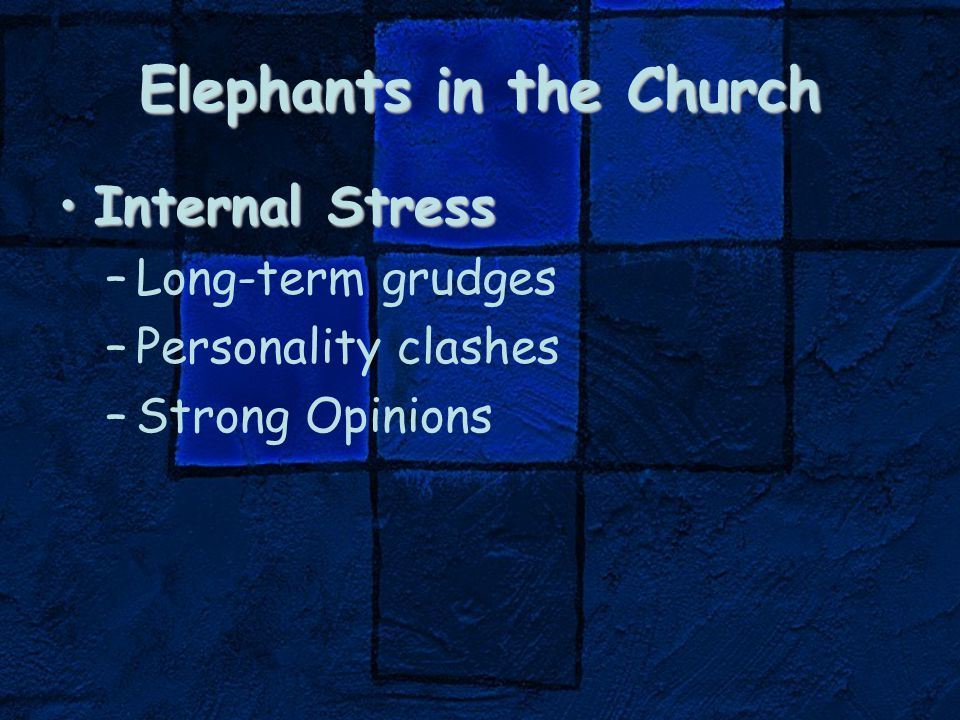 Elephants in the Church Internal StressInternal Stress –Long-term grudges –Personality clashes –Strong Opinions