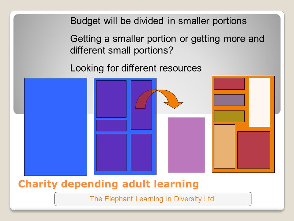Charity depending adult learning Budget will be divided in smaller portions Getting a smaller portion or getting more and different small portions.