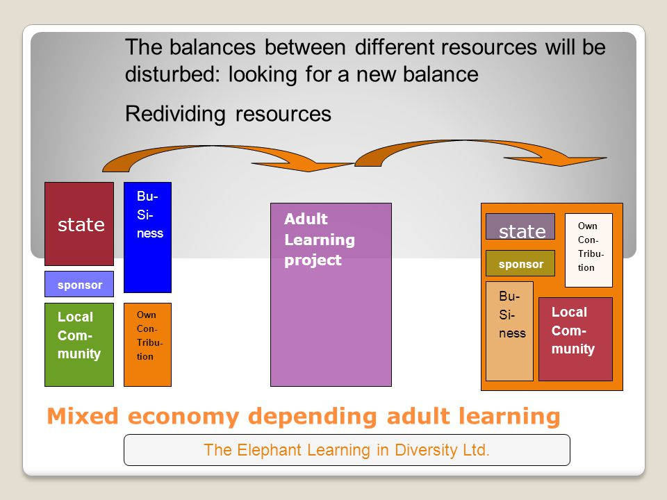 state Mixed economy depending adult learning The balances between different resources will be disturbed: looking for a new balance Redividing resources Adult Learning project Local Com- munity Own Con- Tribu- tion Bu- Si- ness sponsor state sponsor Bu- Si- ness Own Con- Tribu- tion Local Com- munity The Elephant Learning in Diversity Ltd.