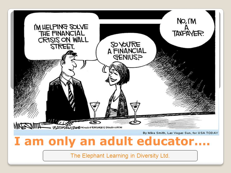 I am only an adult educator…. The Elephant Learning in Diversity Ltd.