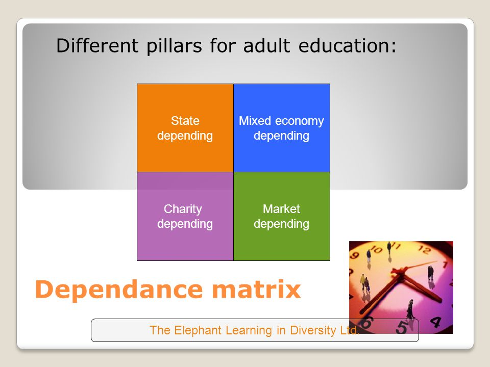 Dependance matrix Different pillars for adult education: State depending Mixed economy depending Charity depending Market depending The Elephant Learning in Diversity Ltd.
