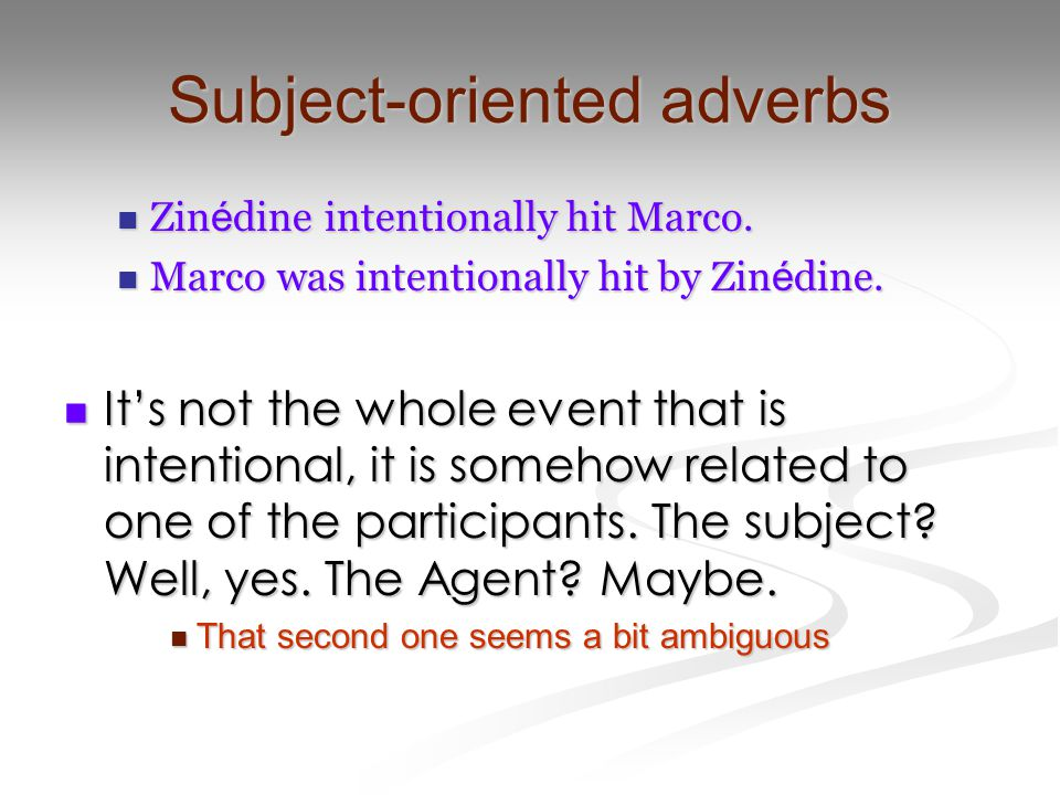 Subject-oriented adverbs Zin é dine intentionally hit Marco.