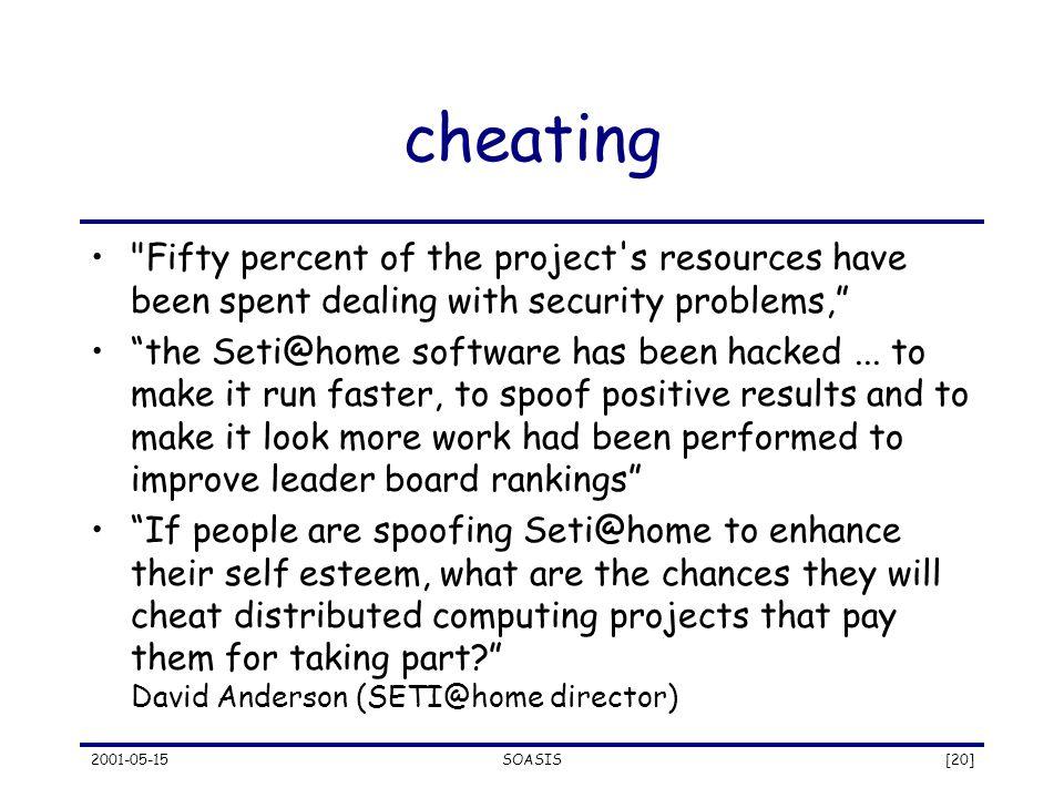 2001-05-15SOASIS[20] cheating