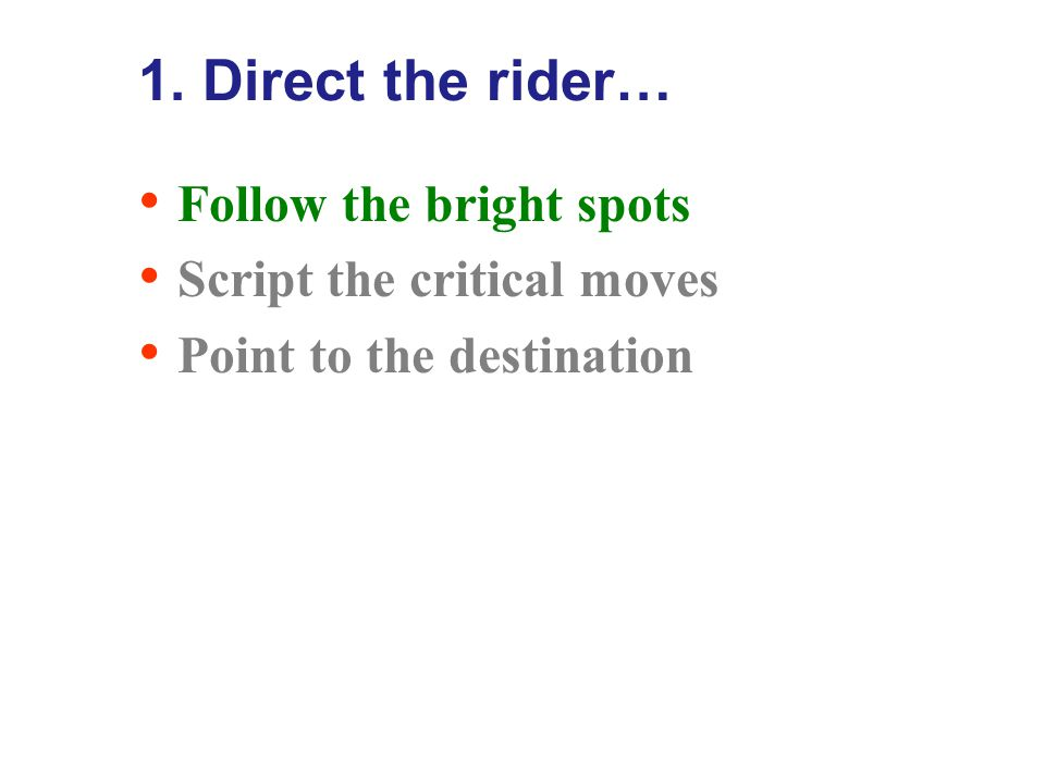 1. Direct the rider… Follow the bright spots Script the critical moves Point to the destination