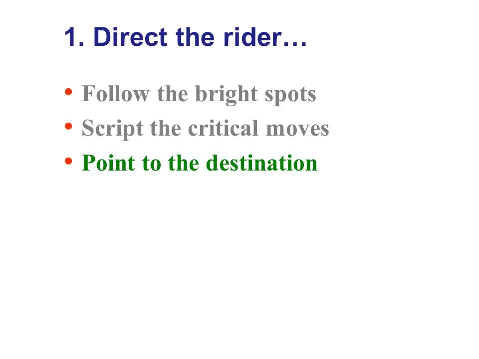 Script the critical moves…