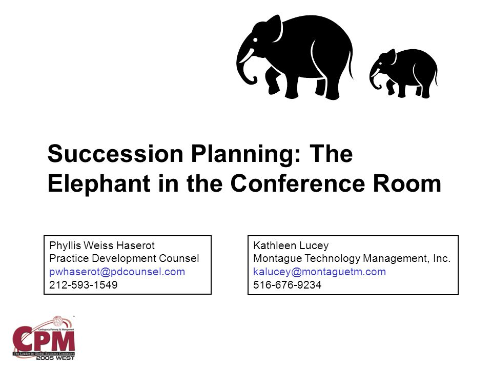 Succession Planning: The Elephant in the Conference Room Phyllis Weiss Haserot Practice Development Counsel pwhaserot@pdcounsel.com 212-593-1549 Kathleen Lucey Montague Technology Management, Inc.