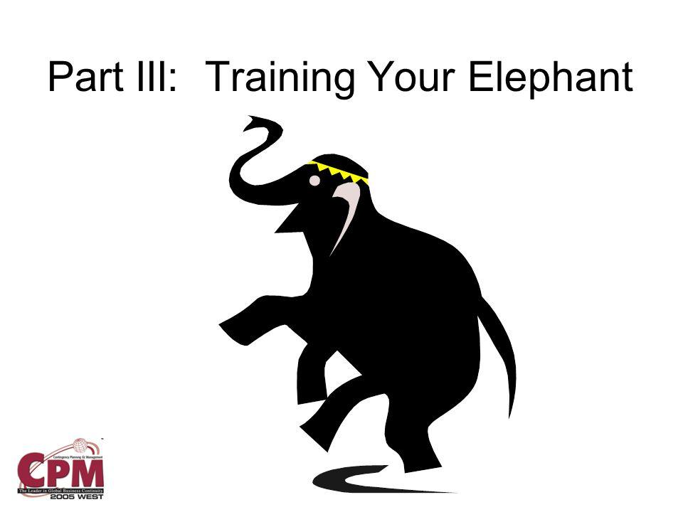 Part III: Training Your Elephant