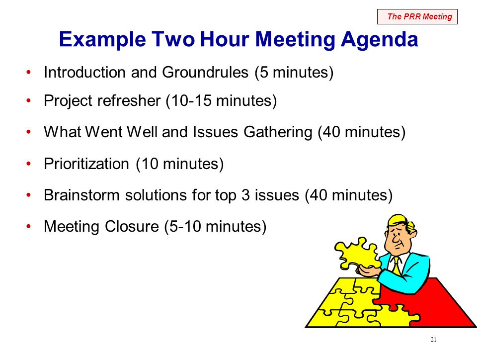 21 Example Two Hour Meeting Agenda Introduction and Groundrules (5 minutes) Project refresher (10-15 minutes) What Went Well and Issues Gathering (40 minutes) Prioritization (10 minutes) Brainstorm solutions for top 3 issues (40 minutes) Meeting Closure (5-10 minutes) The PRR Meeting