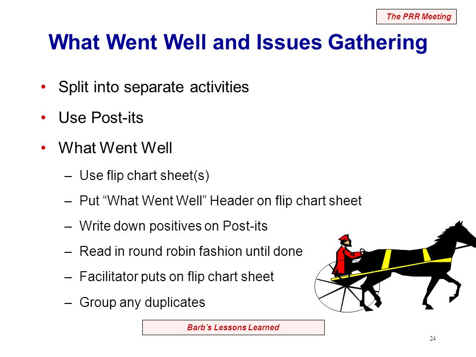 24 Barb's Lessons Learned What Went Well and Issues Gathering Split into separate activities Use Post-its What Went Well –Use flip chart sheet(s) –Put