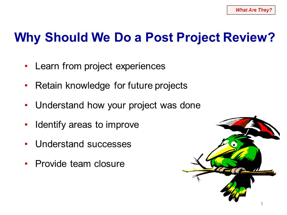 5 Why Should We Do a Post Project Review? Learn from project experiences Retain knowledge for future projects Understand how your project was done Ide