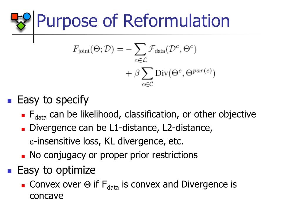 Purpose of Reformulation Easy to specify F data can be likelihood, classification, or other objective Divergence can be L1-distance, L2-distance,  -insensitive loss, KL divergence, etc.