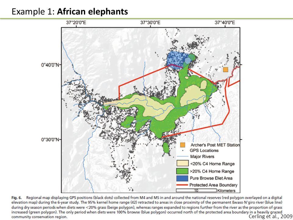 Example 1: African elephants Cerling et al., 2009