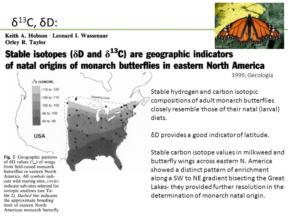 δ 13 C, δD: Stable hydrogen and carbon isotopic compositions of adult monarch butterflies closely resemble those of their natal (larval) diets. δD pro