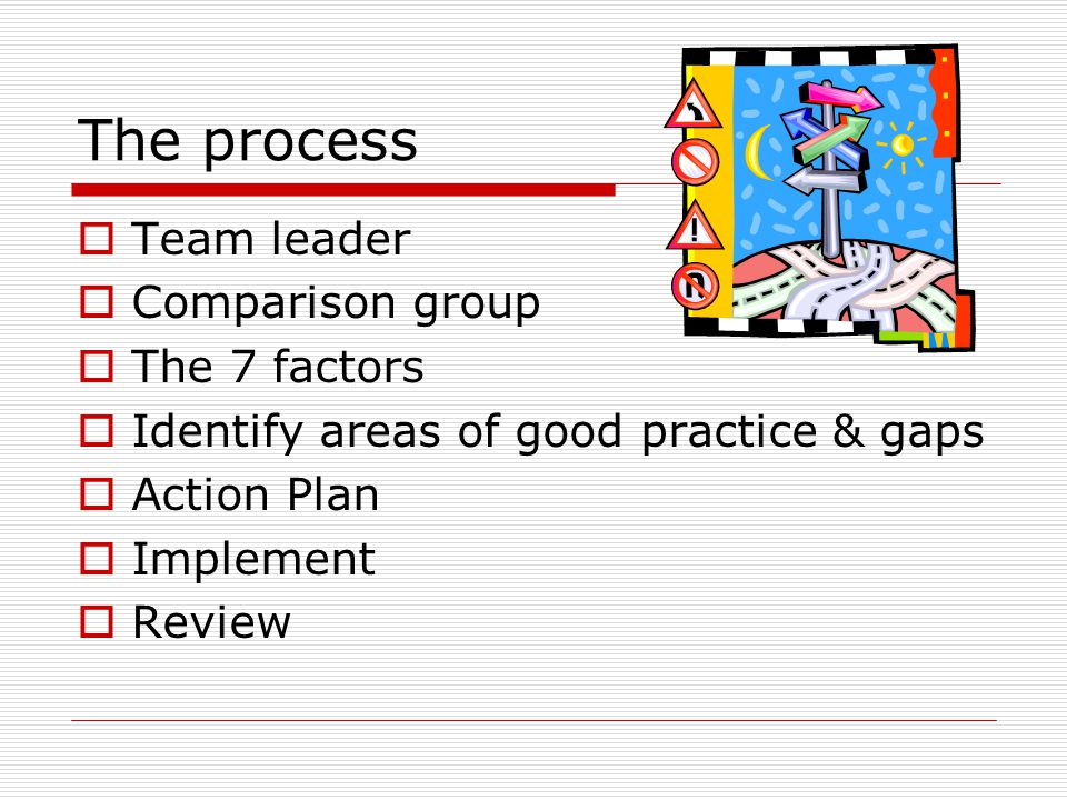The process  Team leader  Comparison group  The 7 factors  Identify areas of good practice & gaps  Action Plan  Implement  Review