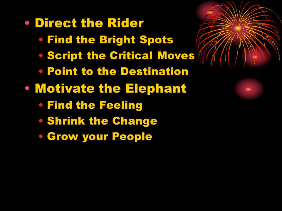 Direct the Rider Find the Bright Spots Script the Critical Moves Point to the Destination Motivate the Elephant Find the Feeling Shrink the Change Grow your People