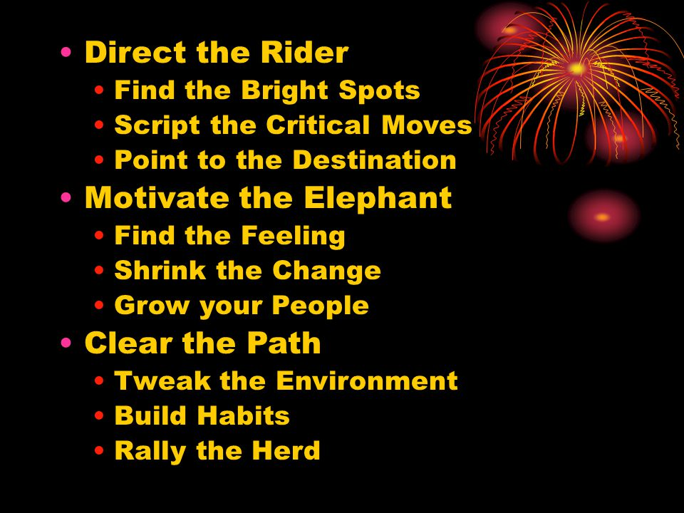 Direct the Rider Find the Bright Spots Script the Critical Moves Point to the Destination Motivate the Elephant Find the Feeling Shrink the Change Grow your People Clear the Path Tweak the Environment Build Habits Rally the Herd