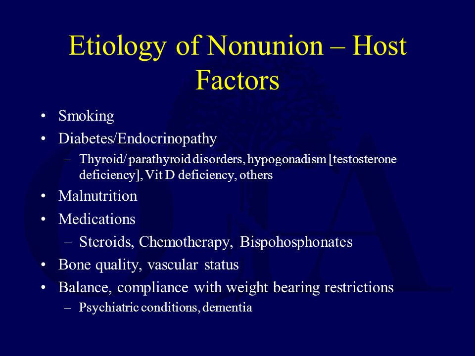 Etiology of Nonunion – Host Factors Smoking Diabetes/Endocrinopathy –Thyroid/ parathyroid disorders, hypogonadism [testosterone deficiency], Vit D deficiency, others Malnutrition Medications –Steroids, Chemotherapy, Bispohosphonates Bone quality, vascular status Balance, compliance with weight bearing restrictions –Psychiatric conditions, dementia