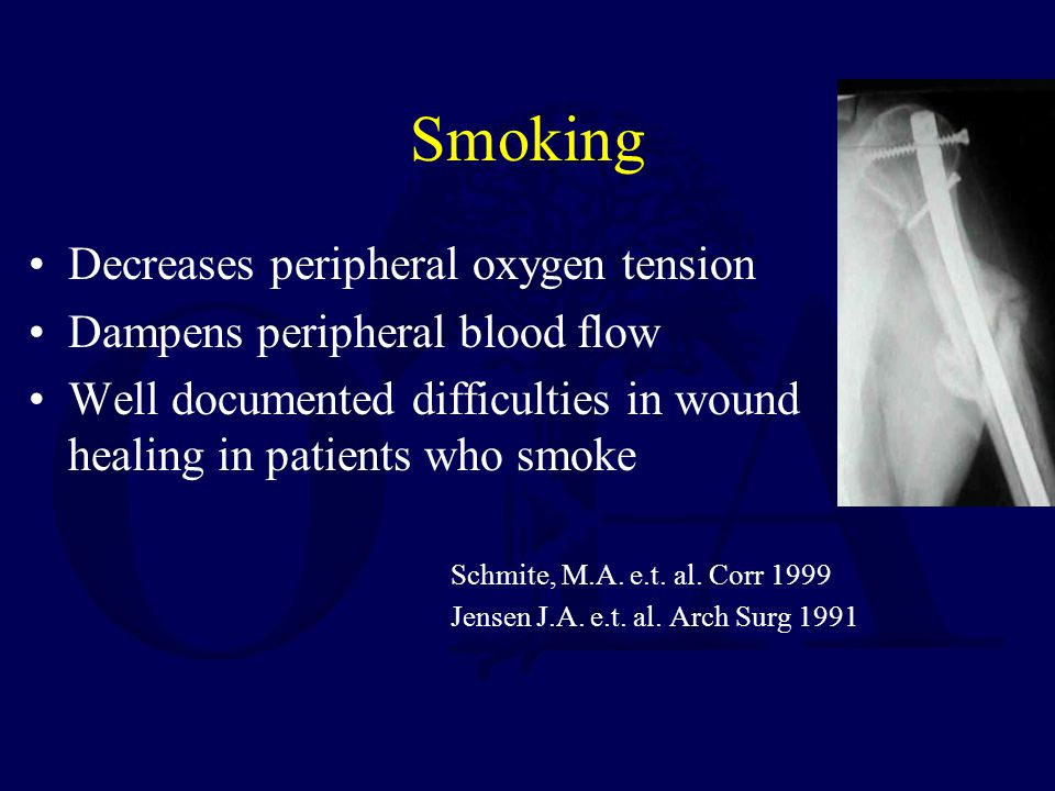 Smoking Decreases peripheral oxygen tension Dampens peripheral blood flow Well documented difficulties in wound healing in patients who smoke Schmite, M.A.