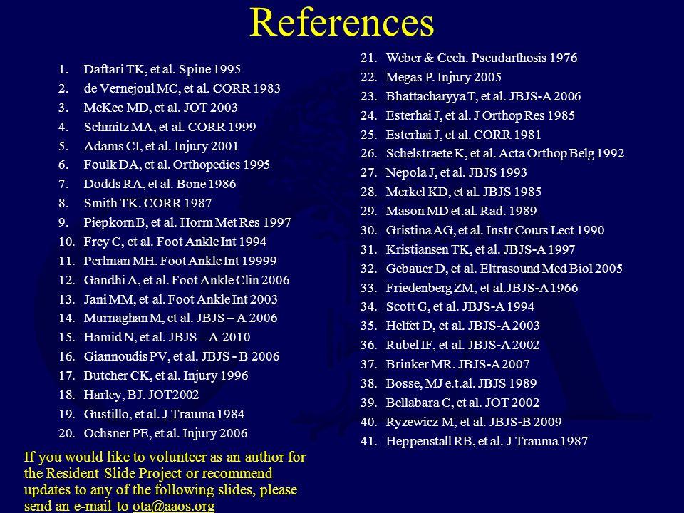References 1.Daftari TK, et al.Spine 1995 2.de Vernejoul MC, et al.