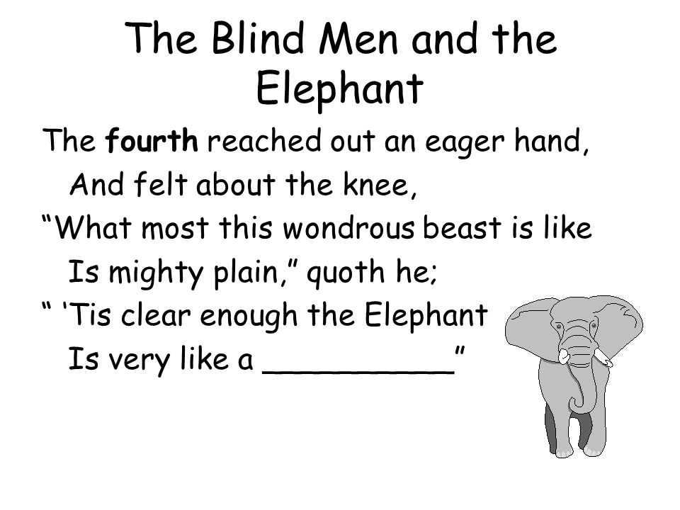 The Blind Men and the Elephant The fifth who chanced to touch the ear, Said: E'en the blindest man Can tell what this resembles most; Deny the fact who can, This marvel of an Elephant Is very like a __________