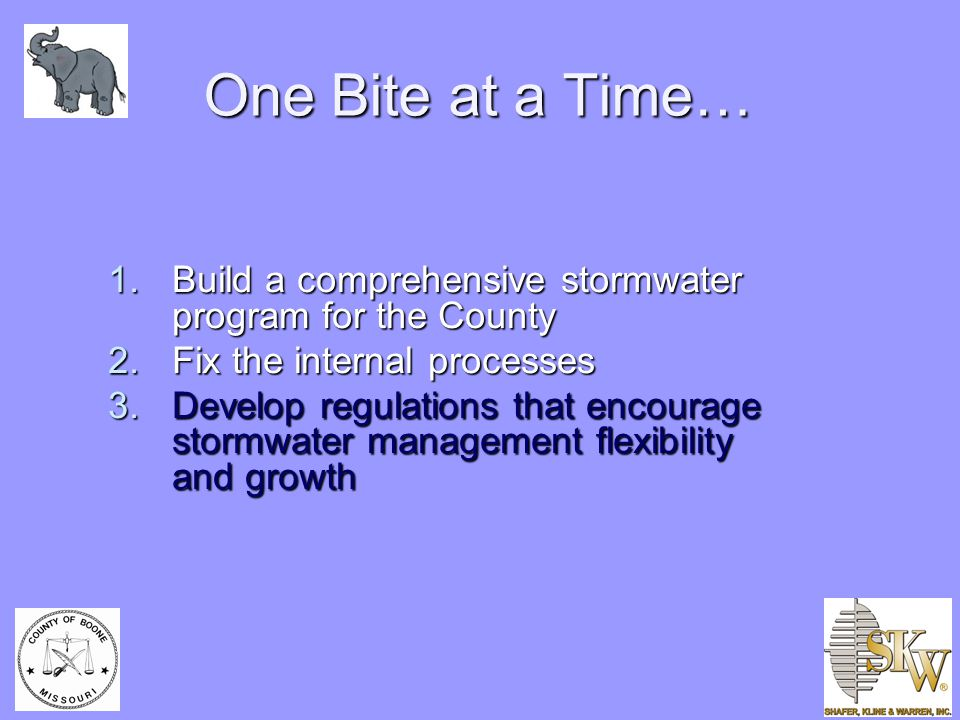 One Bite at a Time… 1.Build a comprehensive stormwater program for the County 2.Fix the internal processes 3.Develop regulations that encourage stormwater management flexibility and growth