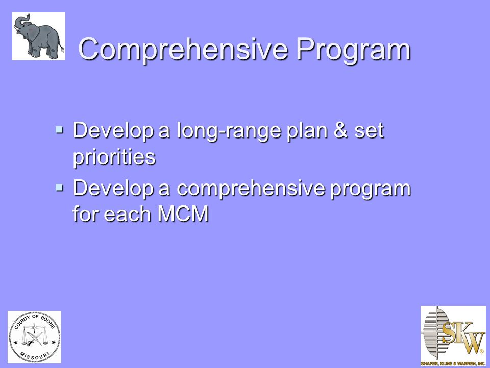 Comprehensive Program  Develop a long-range plan & set priorities  Develop a comprehensive program for each MCM