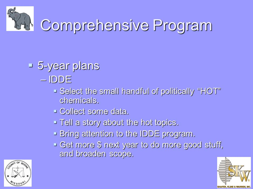 """Comprehensive Program  5-year plans –IDDE  Select the small handful of politically """"HOT"""" chemicals.  Collect some data.  Tell a story about the ho"""