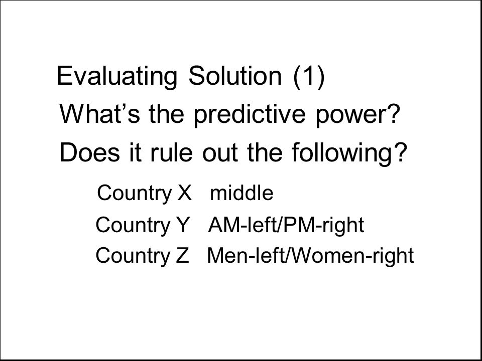 Evaluating Solution (1) What's the predictive power? Does it rule out the following? Country X middle Country Y AM-left/PM-right Country Z Men-left/Wo